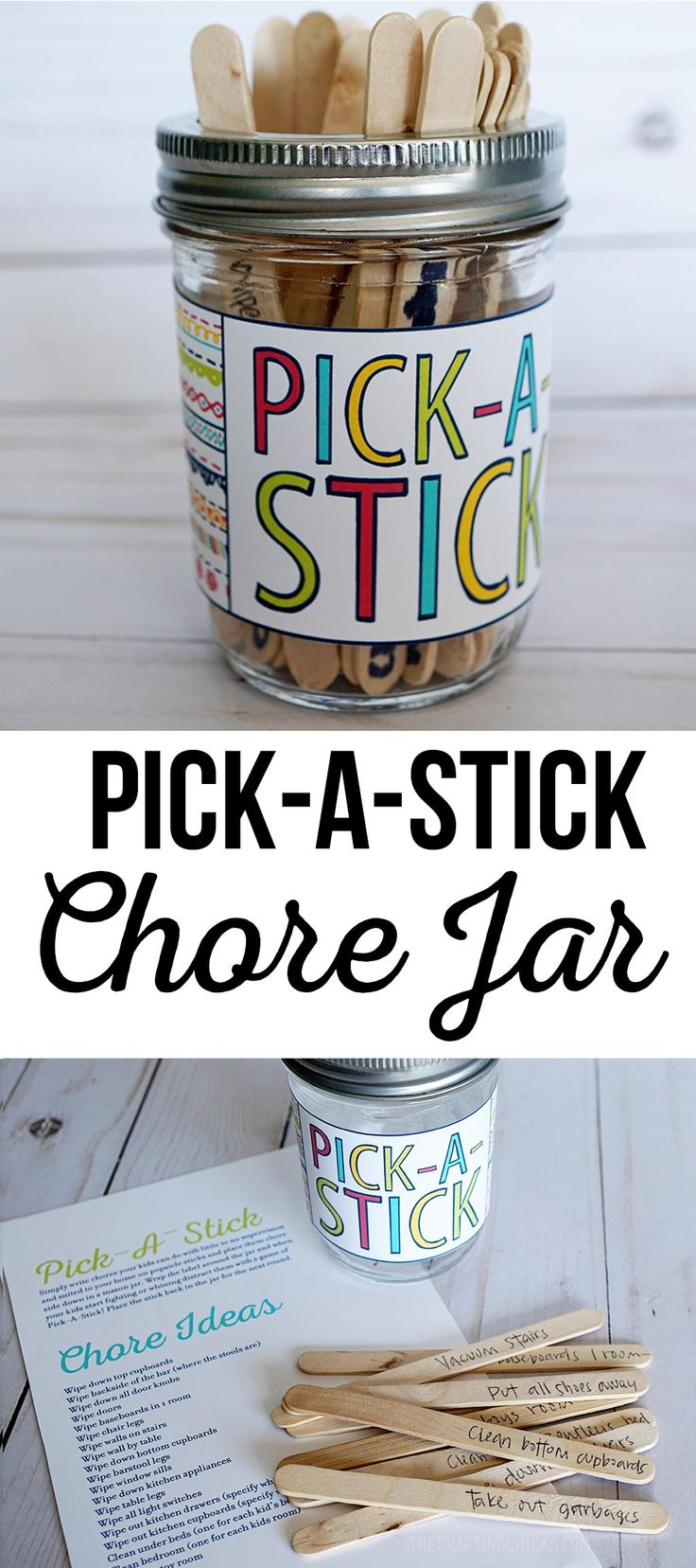 Save your sanity with a Pick-A-Stick Chore Jar. via @craftingchicks