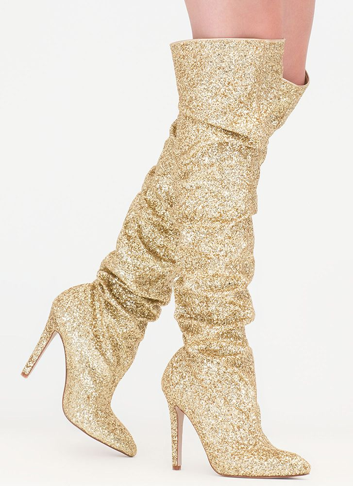 7956a25ac55d So Much Sparkle Glitter Thigh-High Boots GOLD SILVER - GoJane.com ...