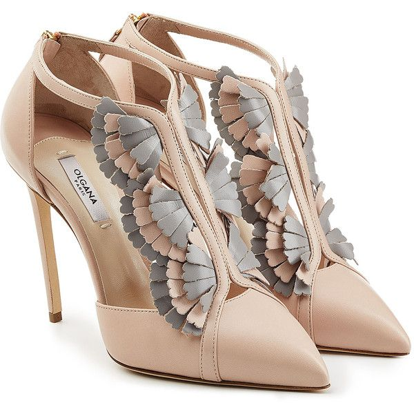 Olgana Paris La Presieuse 10 Leather Pumps ($430) ❤ liked on Polyvore featuring shoes, pumps, heels, multicolor, multi-color pumps, heels stilettos, pointed toe shoes, leather pointed toe pumps and pointy toe pumps