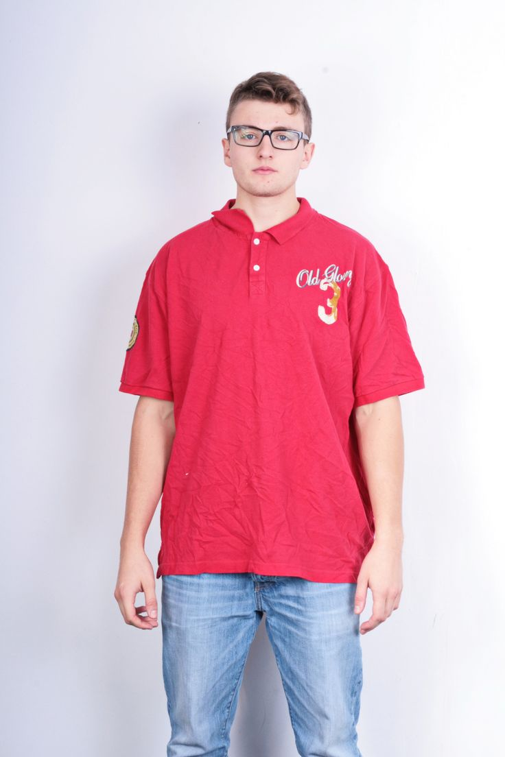 Old Glory Mens XL Polo Shirt Red Cotton Top Classic