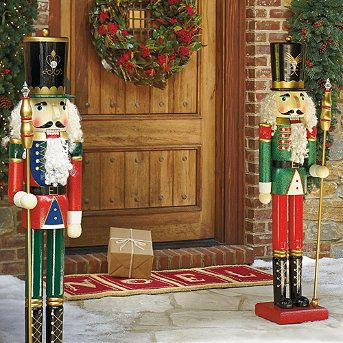 love these want the whole set nutcrackers welcome at and holly bushes on sides of door holidays pinterest christmas nutcracker christmas an