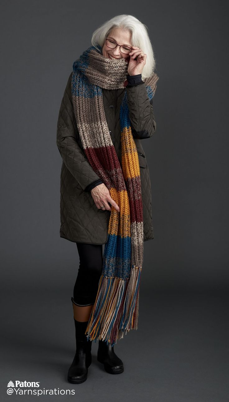Marl Stripe Knit Super Scarf - Patterns | Yarnspirations | Mix up your yarn to create solids and heathers when you knit this Super Scarf in Patons Classic Wool Worsted.