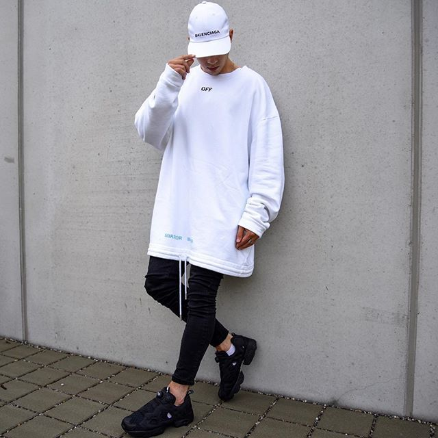 minimal optimal. today im wearing a sweater by @off____white, denim by @bershkacollection, cap by @balenciaga and shoes by @reebok instapump. good day everyone