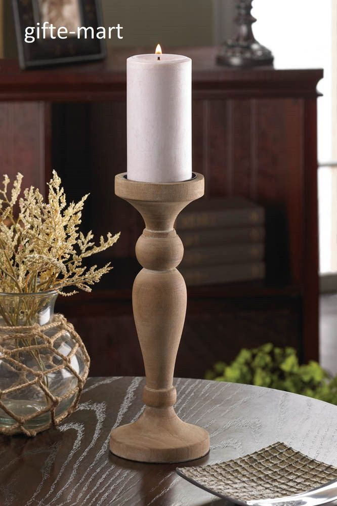 Rustic reclaimed recycled turned wood wooden pillar Candle holder wedding centerpiece #generic