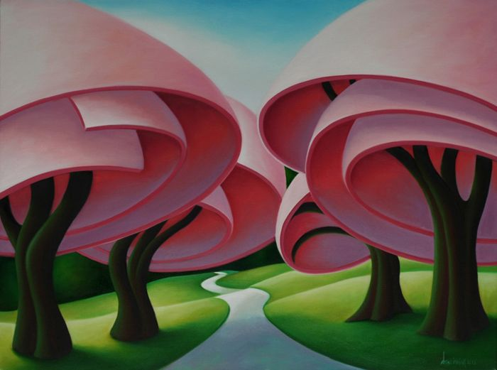 Irving's works focus on the drama of light and shade, the animation of trees and hills and the weather around them.