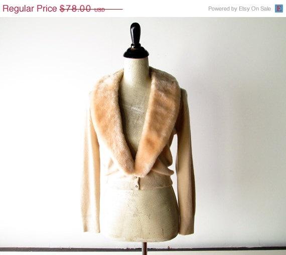 SALE 20 OFF // 1950s Sweater // Faux Fur by myVintageValentine, $62.40