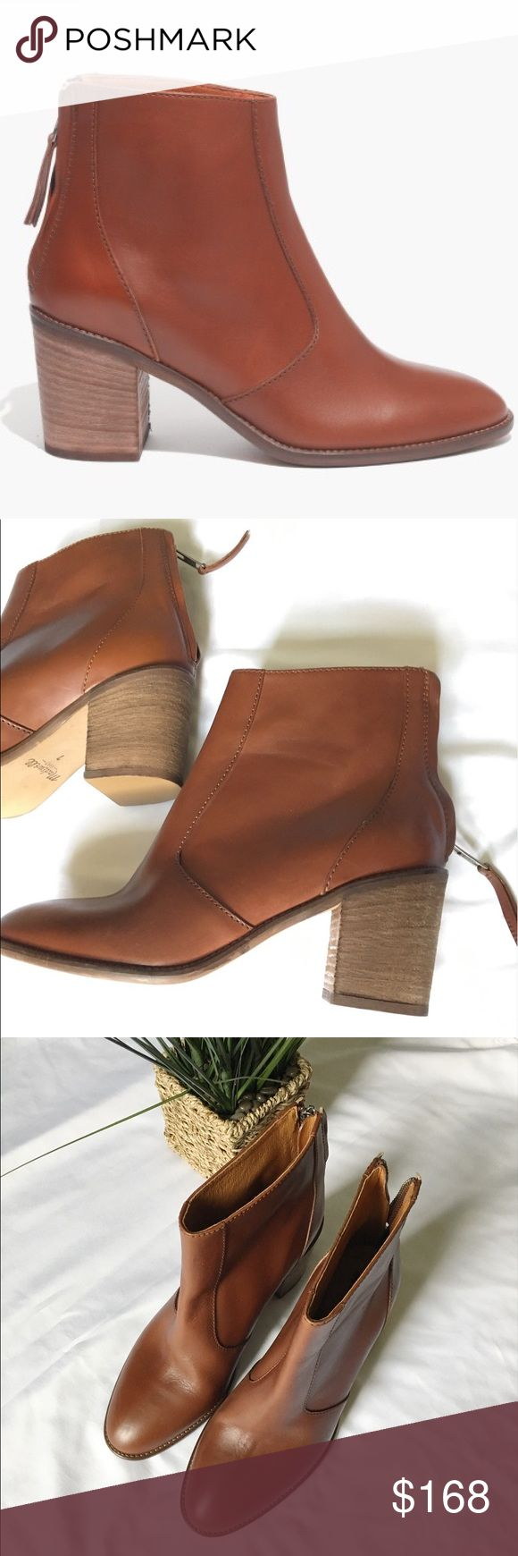 "Madewell Ames Boot Ankle Booties Tan Cognac Chunky stacked heel. Rich soft leather. Even better with age. Yes, this would be the ankle boot you're looking for.       Leather upper.     4 1/4"" shaft height (based off size 7).     10 1/2"" shaft circumference (based off size 7).     3"" heel.     Leather lining.     Man-made sole. Brand new without box. Minimal signs of wear from store try ons. Never worn. Retails $258 + tax. Brown/Cognac color. Note: style number written on bottom as this was a…"