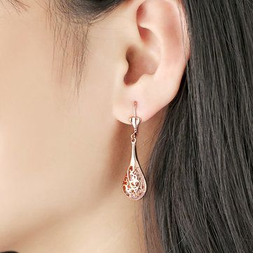 JASSY® Rose Gold Hollow Elegant Ear Drop Earrings Jewelry for Women at Banggood