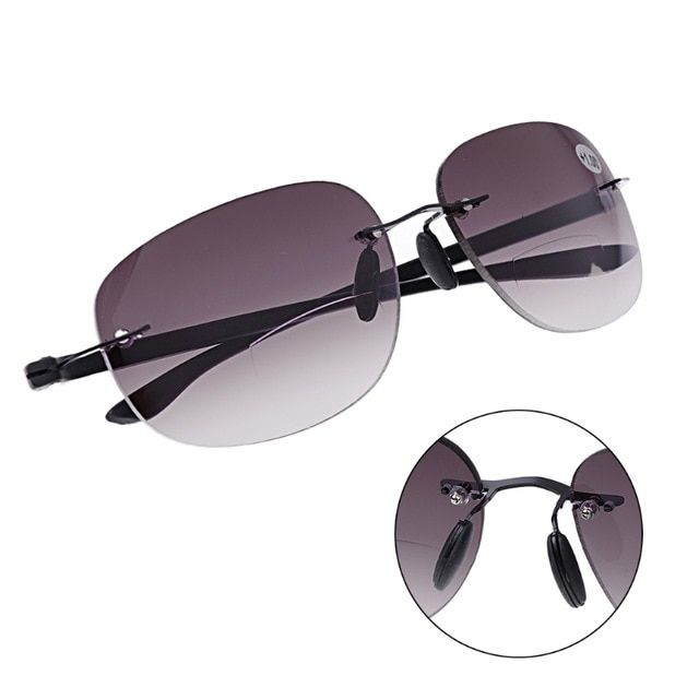 5599b5a61c85 Outdoor Sun Readers Rimless Bifocal Reading Glasses Sunglasses Men and Women  1.0 To 3.5 Review