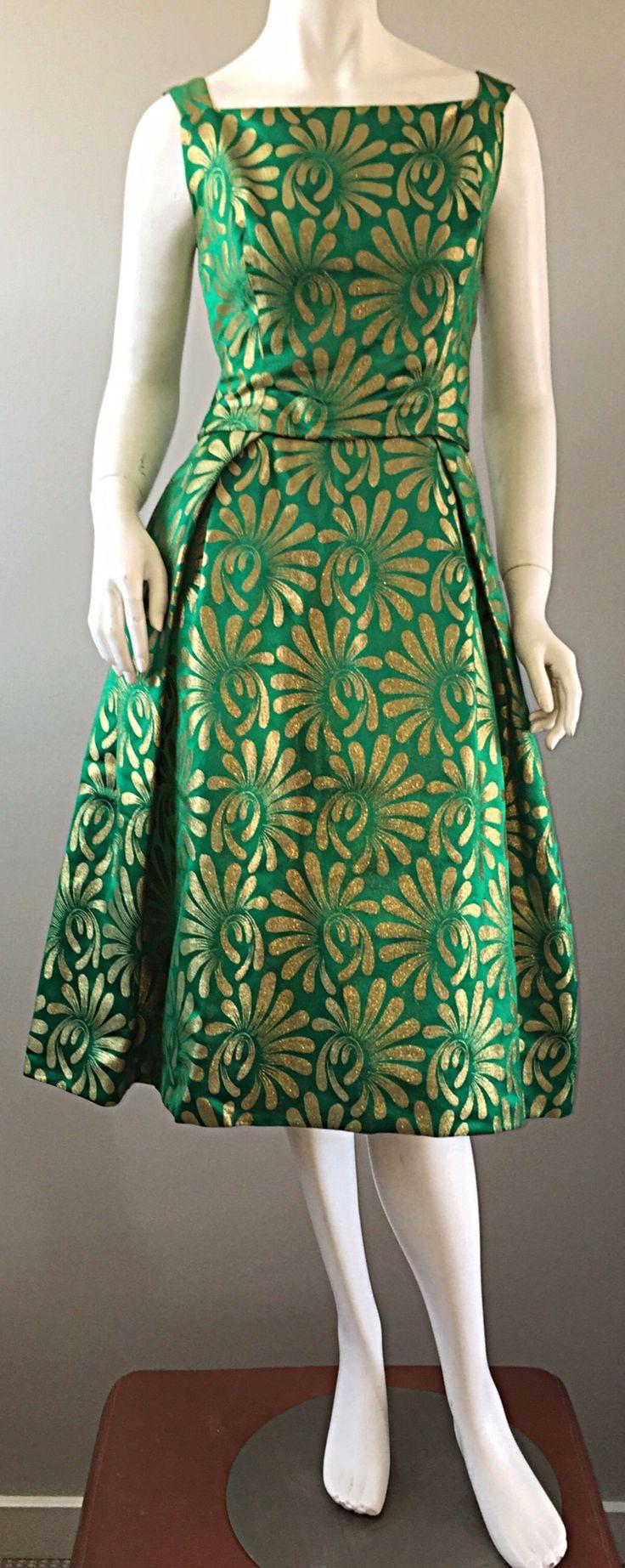 1950s 50s Vintage Blauner for Bonwit Teller Green + Gold ' New Look ' Silk Dress