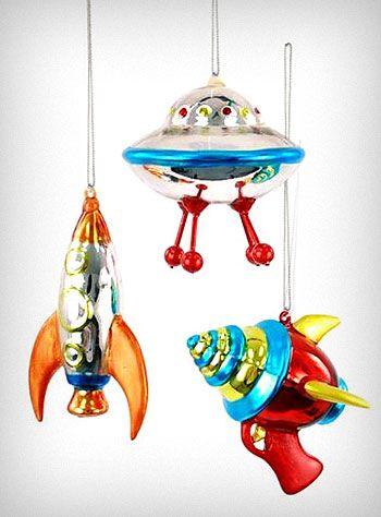 Space age retro ornaments set. $26.00