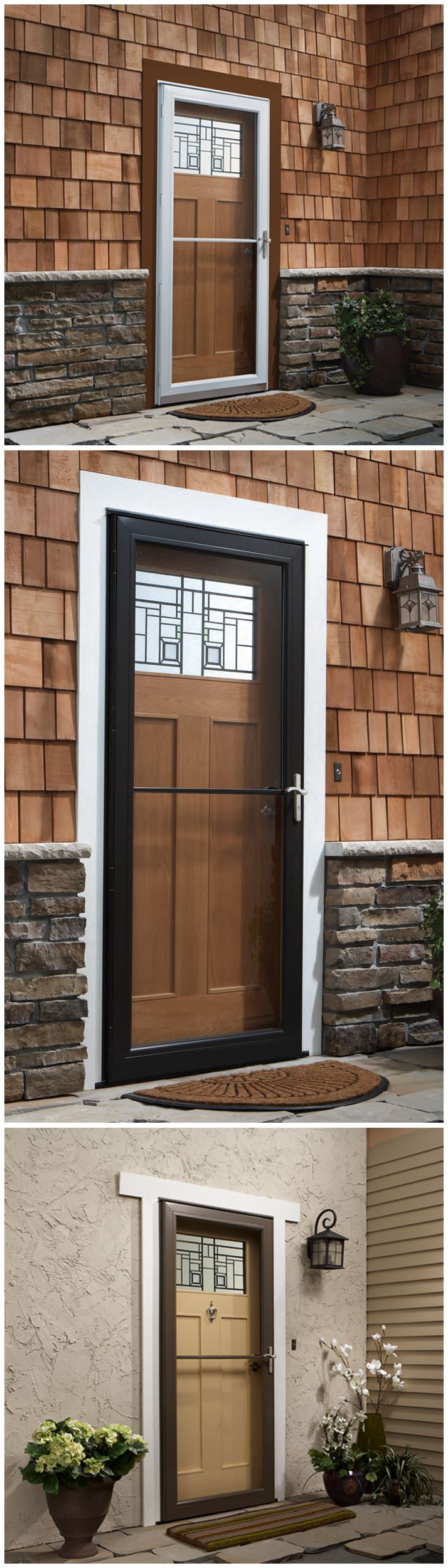 """Choose a """"self-storing"""" storm door for a retractable insect screen that hides away when it's not needed or a glass panel that slides up for full glass protection. It provides outside ventilation when you want it, without spoiling the view when you don't. That's just one of the many storm door options we have available at The Home Depot. Click through to learn more."""