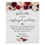 Rustic Burgundy Floral Unplugged Wedding Sign #weddinginspiration #wedding #weddinginvitions #weddingideas #bride