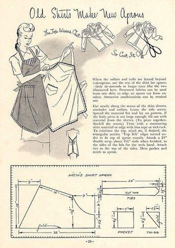 домашняя одежда, фартук, фартуки, ретро выкройки, простые выкройки