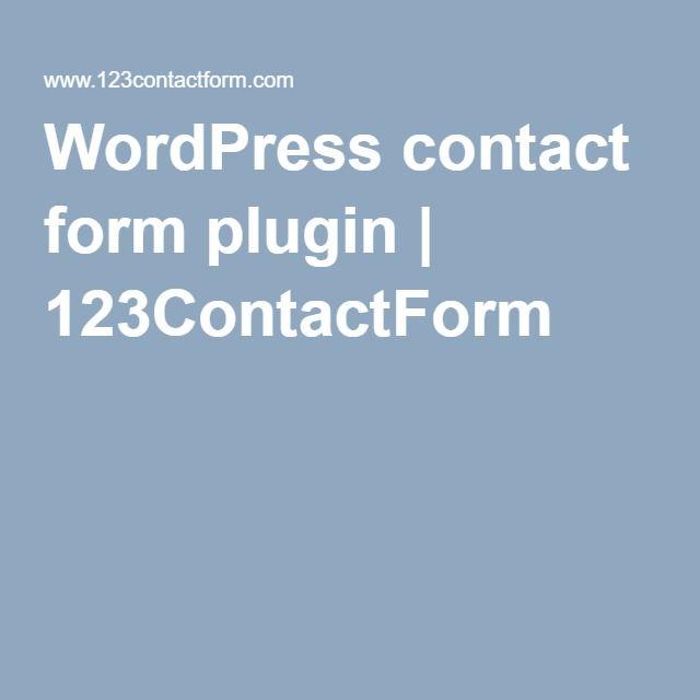 WordPress contact form plugin | 123ContactForm
