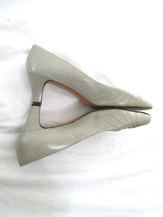 50s Peep Toe Pumps Gray Heels Low Heel Shoes by EllipsisThenDot, $39