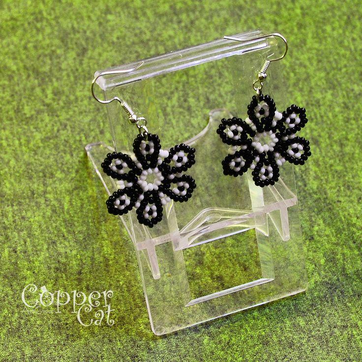 """Earrings """"Night Flower"""" by """"Copper Cat Art Group"""". Seed beads jewelry. Handcraft. Ukrainian folk art. Czech seed beads. Traditional Folk necklace."""
