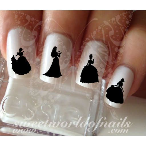 Disney Princesses silhouette Nail Water Decals Wraps 20 water decals on a clear water transfer which can be applied over any color varnish on either your natural or false nail. Use: 1. Paint nails in
