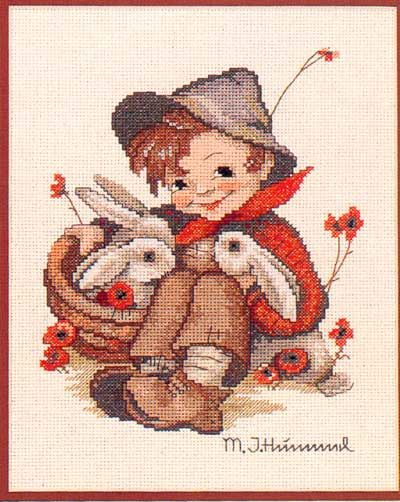 """Playmates"" Hummel cross stitch design"