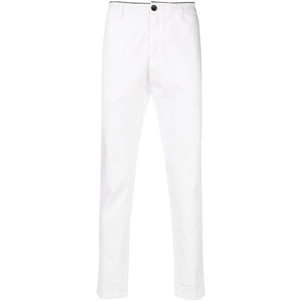 Department 5 straight trousers ($198) ❤ liked on Polyvore featuring men's fashion, men's clothing, men's pants, men's casual pants, white and mens white pants
