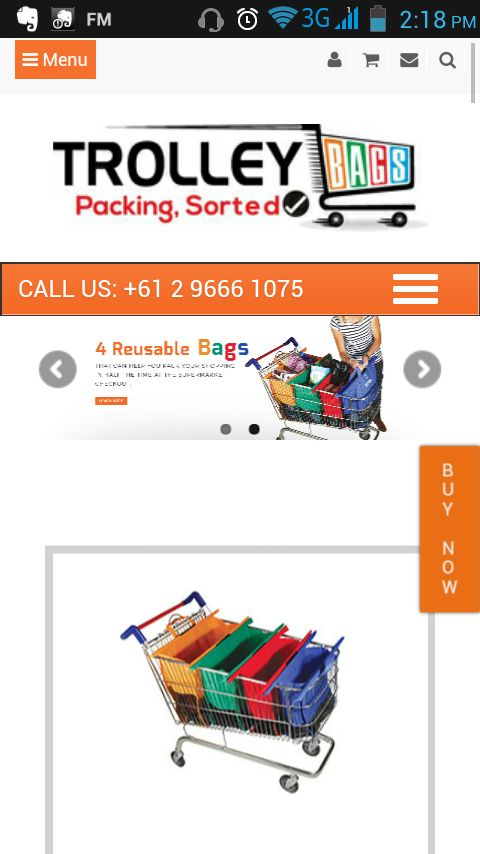 A #responsive website is easier to use on any electronic device. Just like this #mobile screenshot of Trolley Bags #onlinestore.