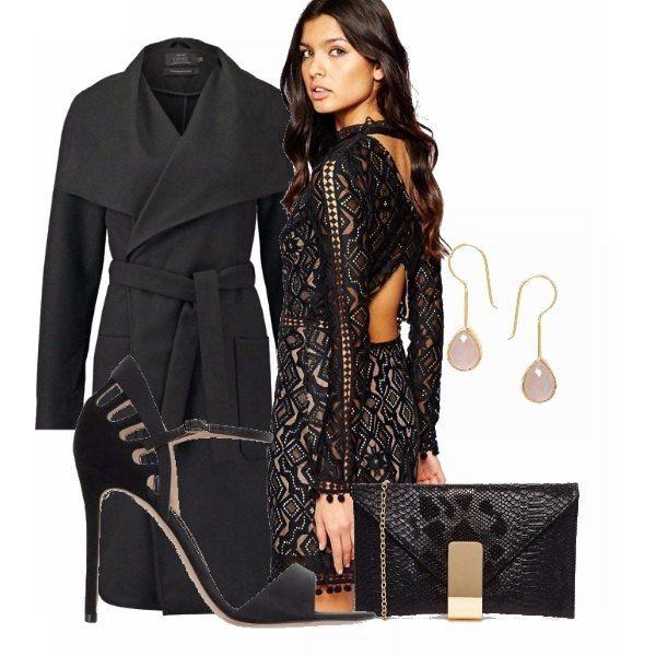 Outfit total black. Il mio preferito. Pensato per una serata romantica con il tuo lui. Adatto anche per party chic . Tutta l'attenzione è focalizzata all'abito che mette in evidenza gambe e schiena.