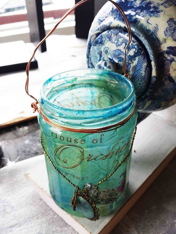 Up cycled glass jar made in to a hanging lantern from Altered Image Studios