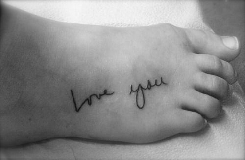 "The ""love"" is my dad's handwriting and the ""you"" is my mom's. Dedicated to the two people I care for the most in this world."""