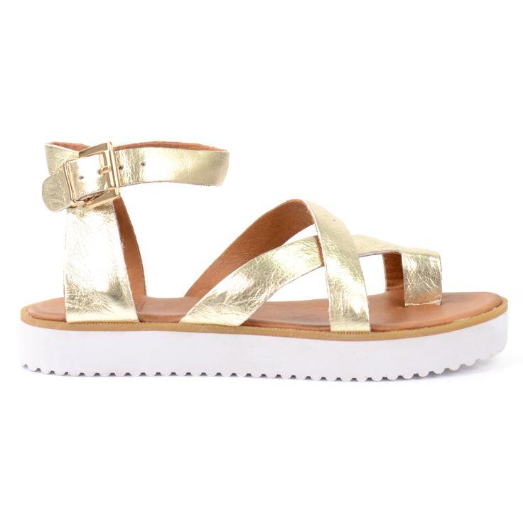 Golden platform sandals - Gouden sandalen met platformzool