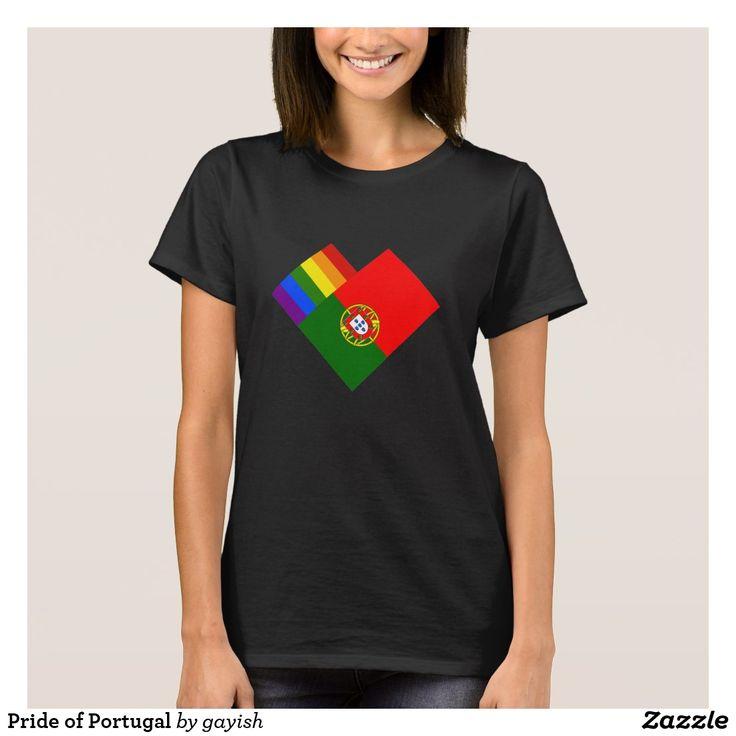 Pride of Portugal t-shirt.  #gaypride #gayrights #tshits #prideshirt #pride #flags #heart #gayportugal #portugal