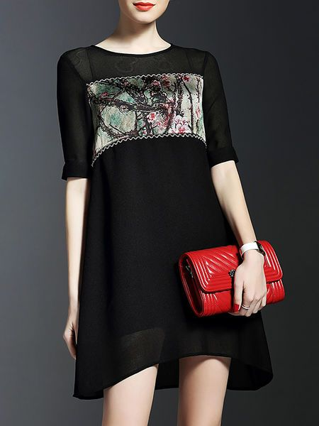 Printed Paneled #Mini #Dress