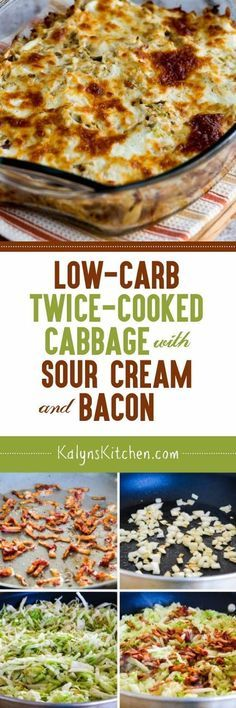 Low-Carb Twice-Cooked Cabbage with Sour Cream and Bacon found on http://KalynsKitchen.com