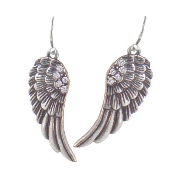 """Beautiful Feather Detailed Angel Wing Earrings with Crystals 2"""" Drop... ($16) ❤ liked on Polyvore featuring jewelry, earrings, accessories, feather earrings, feather jewelry, pewter jewelry, silver antique jewellery and angel wing earrings"""