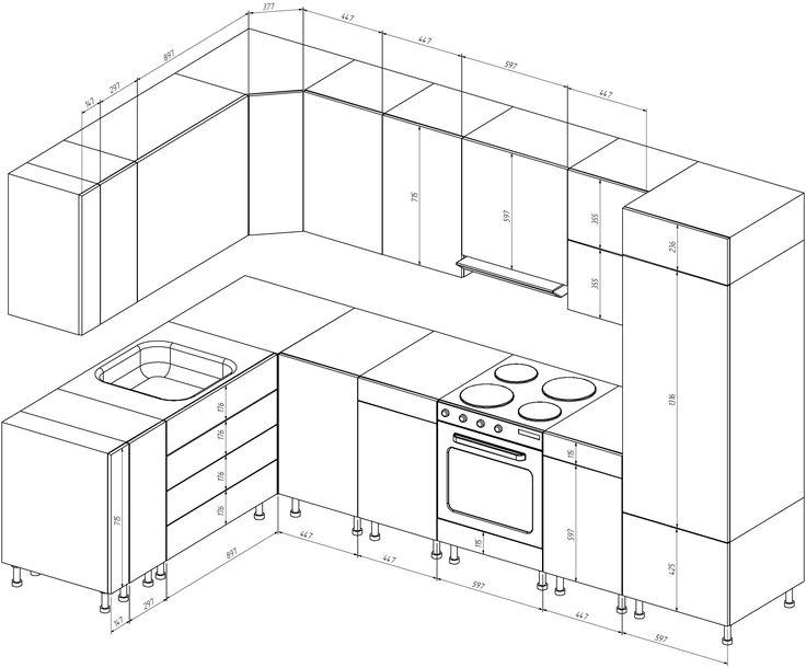 Чертеж кухонного гарнитура