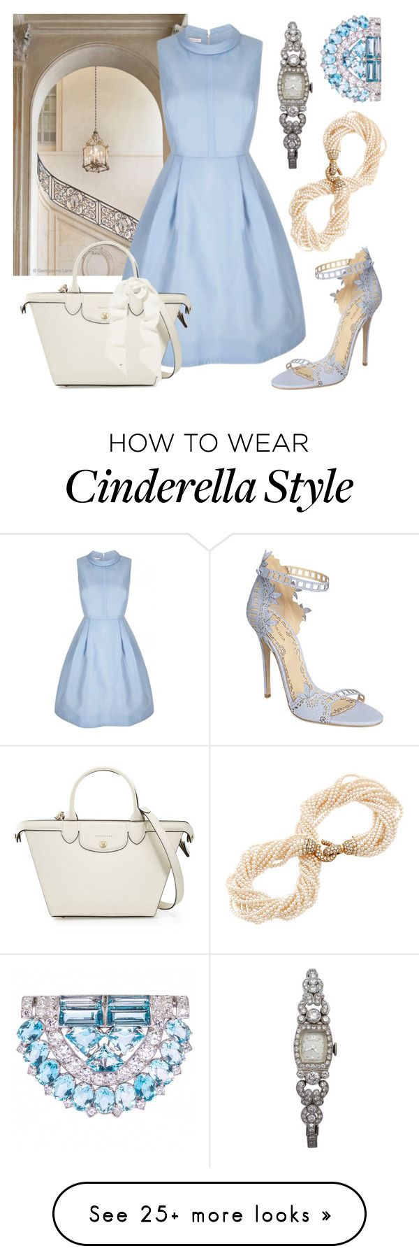 """Pale Blue Pretty"" by aliciahgibson on Polyvore featuring Marchesa, Rodin, Longchamp, Yves Saint Laurent, Cartier, Hamilton and vintage"