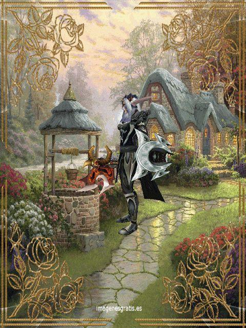 Gif animados andy: Gif animado de fantasía con un elfo guerrero.