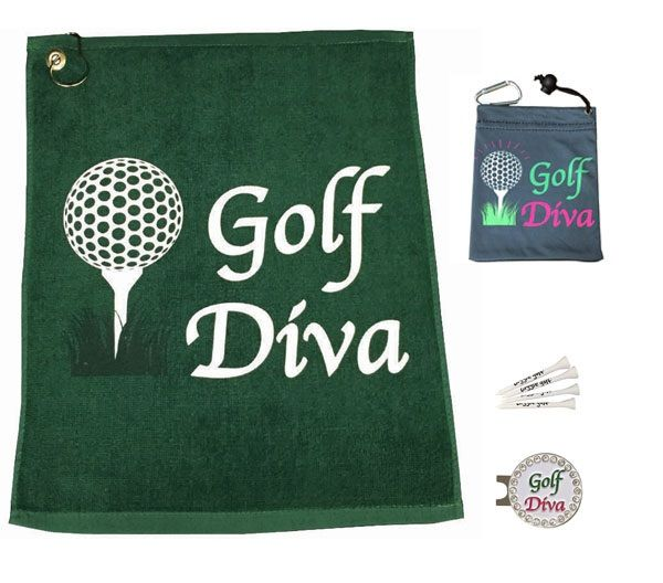 The Golf Diva Par 3 has one Golf Diva towel, one Golf Diva tee bag & four Giggle tees, and one bling Golf Diva hat clip ball marker. Comes in a cute little mesh bag.