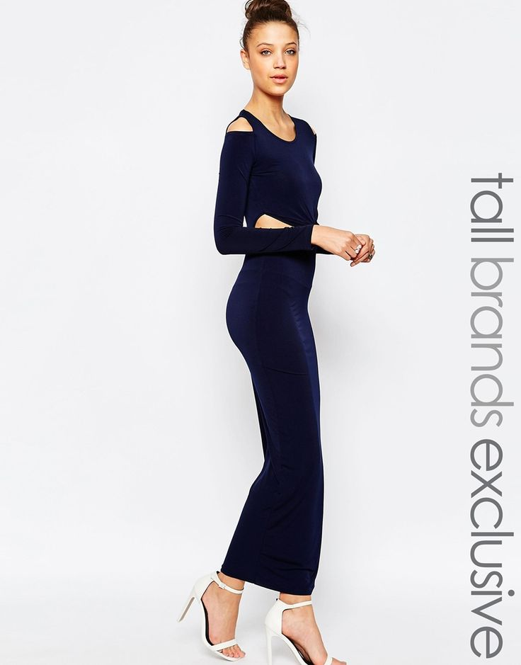 True Decadence Tall Cold Shoulder Maxi Dress With Knot Front