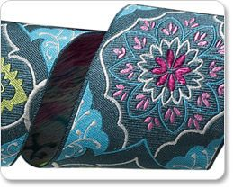 Gray and Blue Brocade Ribbon - Amy Butler