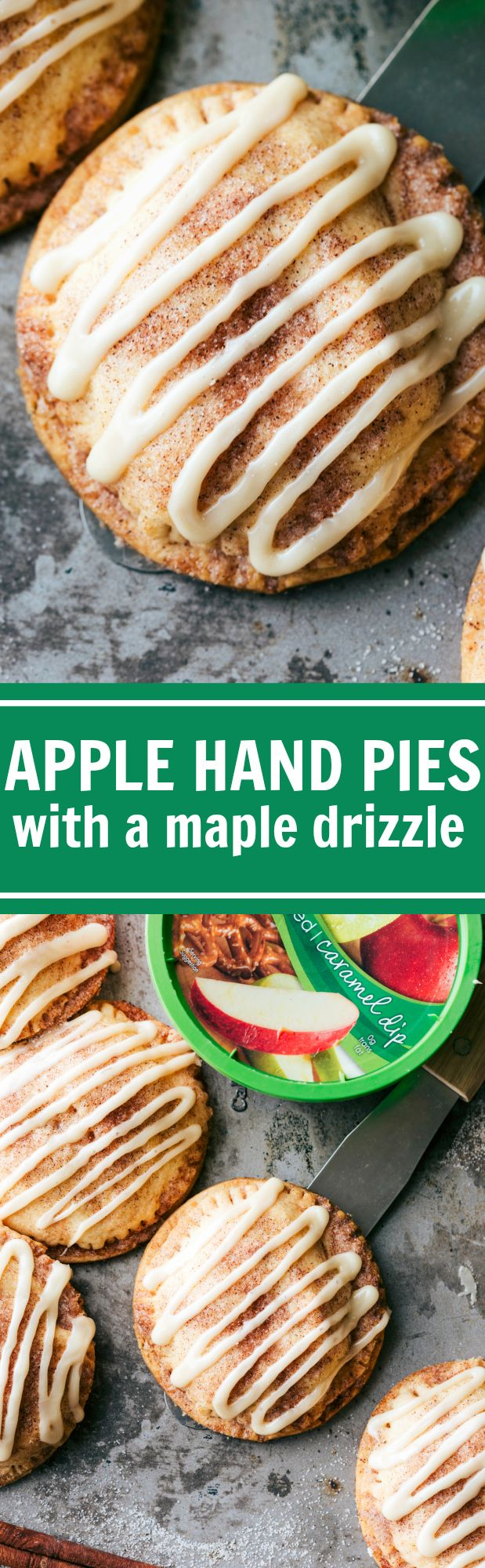 Delicious and flakey hand apple pies with an amazing maple-sugared glaze via chelseasmessyapron.com