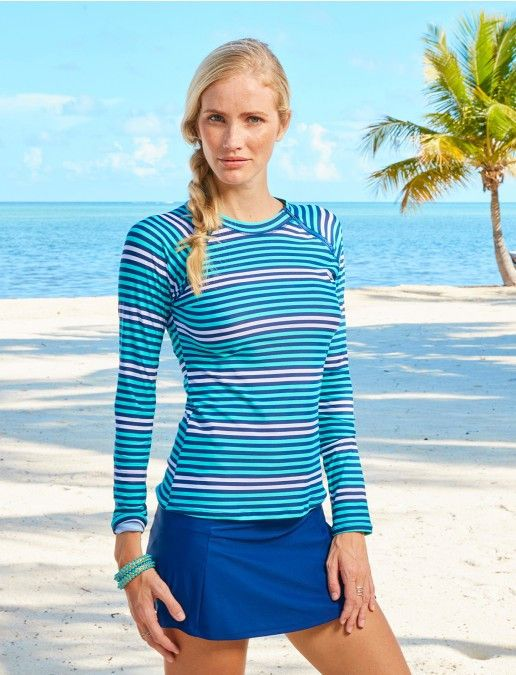 Ladies Zip Swim Shirt, Stripe UPF50+