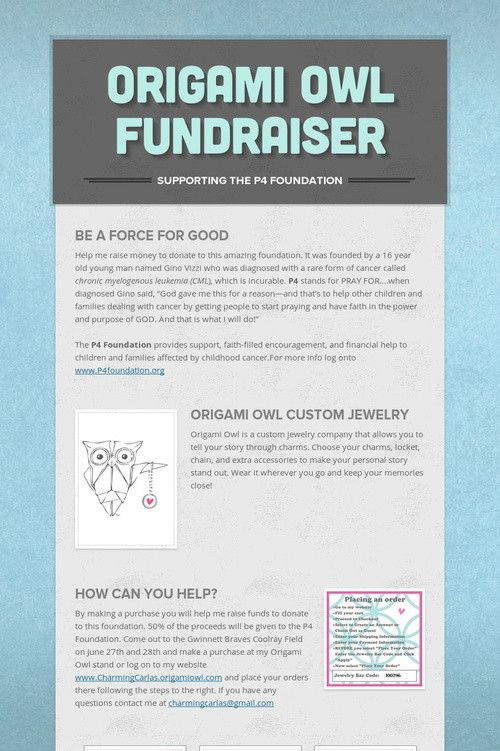 Origami Owl Fundraiser great cause please help and support. ... charmingcarlas.origamiowl.com