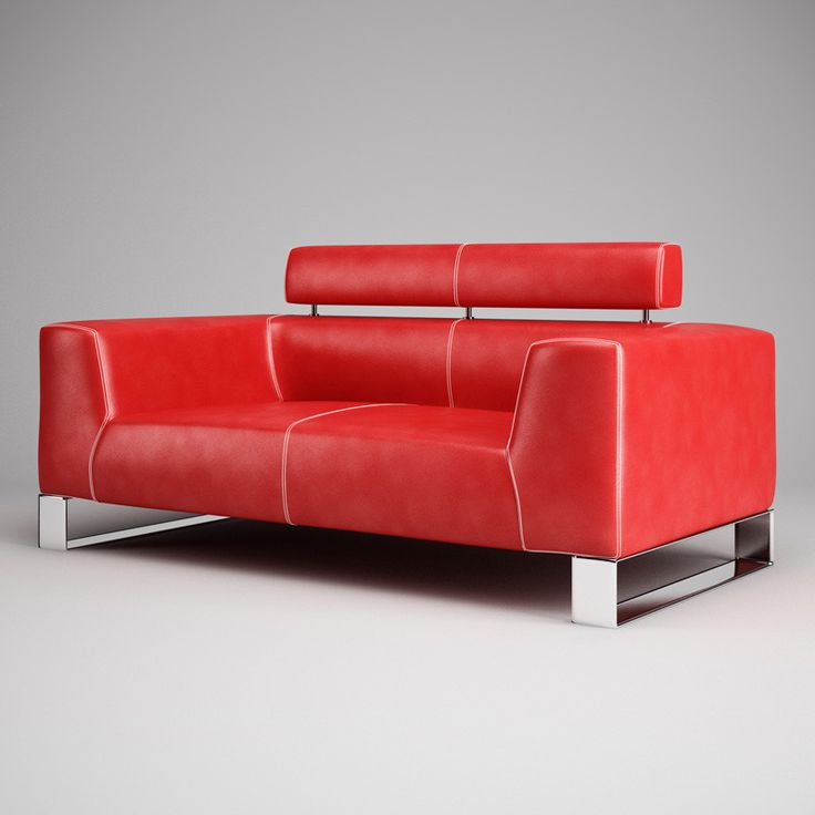 3Ds Max Red Leather Sofa 01 - 3D Model