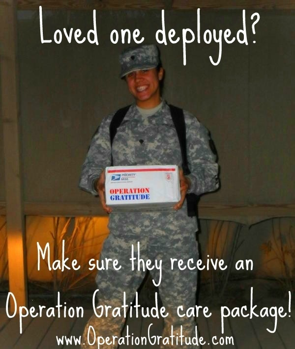 Sign your deployed loved one up to receive a FREE Operation Gratitude care package: http://www.OperationGratitude.com/request-a-package/individual-request-form/