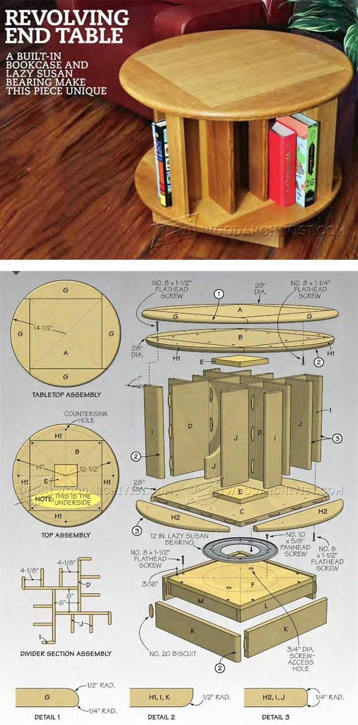 Revolving End Table Plans - Furniture Plans and Projects | WoodArchivist.com