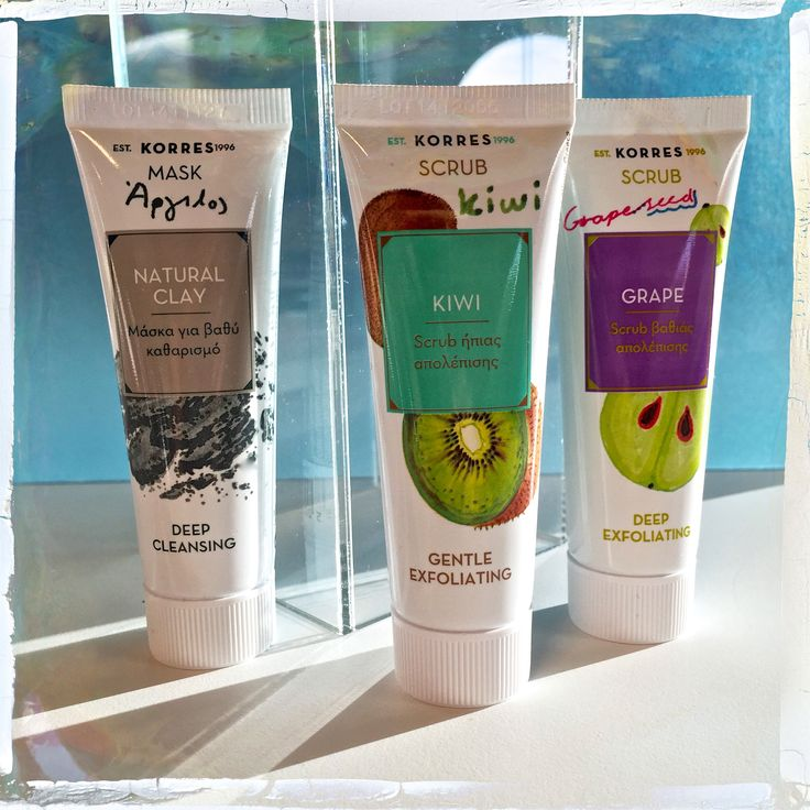 Natural Clay Mask / Deep cleansing - Kiwi Scrub / Gently Exfoliating - Grape Scrub/ Deep Exfoliating