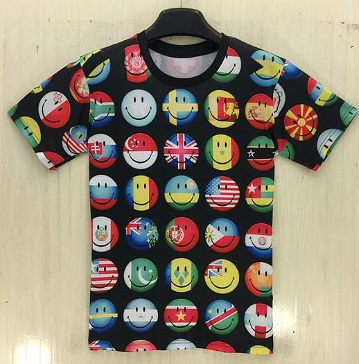 Emoji T Shirt Women Men national flag Emoji Design T-Shirt Short Sleeve Size S-XXL