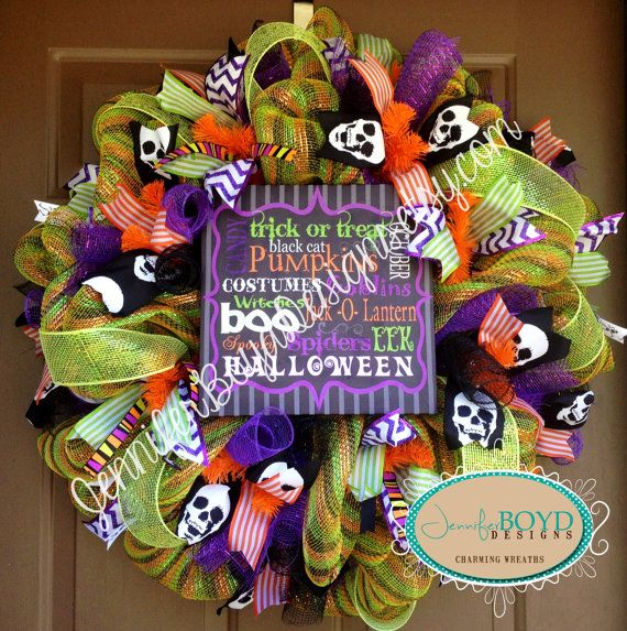 halloween canvas deco mesh wreath by jenniferboyddesigns on etsy 11000 - Deco Mesh Halloween Garland