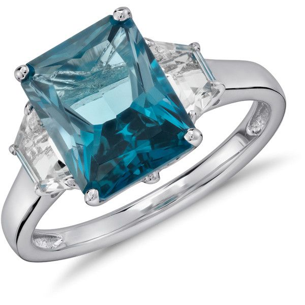 Blue Nile London Blue Topaz and White Topaz Radiant Cut Ring (33.995 HUF) ❤ liked on Polyvore