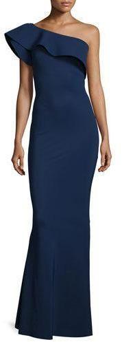 La Petite Robe Elisse One-Shoulder Ruffle Mermaid Gown, Blue Notee  https://api.shopstyle.com/action/apiVisitRetailer?id=514065325&pid=uid2500-37484350-28